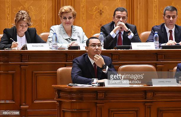 Romanian Prime Minister Victor Ponta sits on the government's bench during a session of the Romanian Parliament in Bucharest September 29 2015...