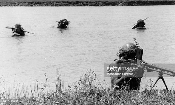 Romanian sappers fording a river in the Caucasus Russia August 1942