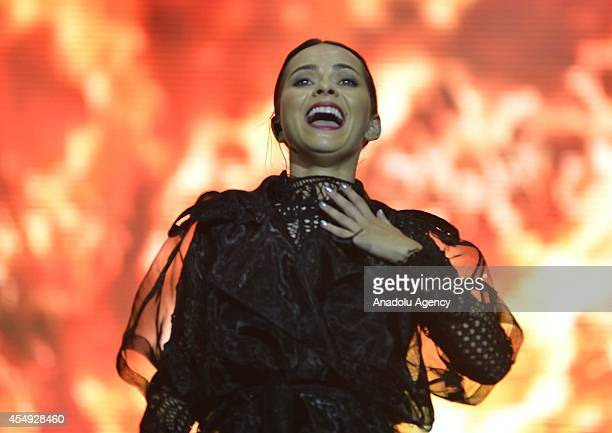 Romanian singer Inna performs on the stage during 'GNCFEST' organized by youth club of Turkcell Turkish mobile phone operator on September 07 2014 in...