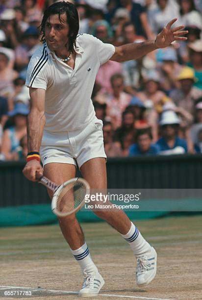 Romanian tennis player Ilie Nastase pictured during competition to reach the quarterfinals of the Men's singles tournament at the Wimbledon Lawn...
