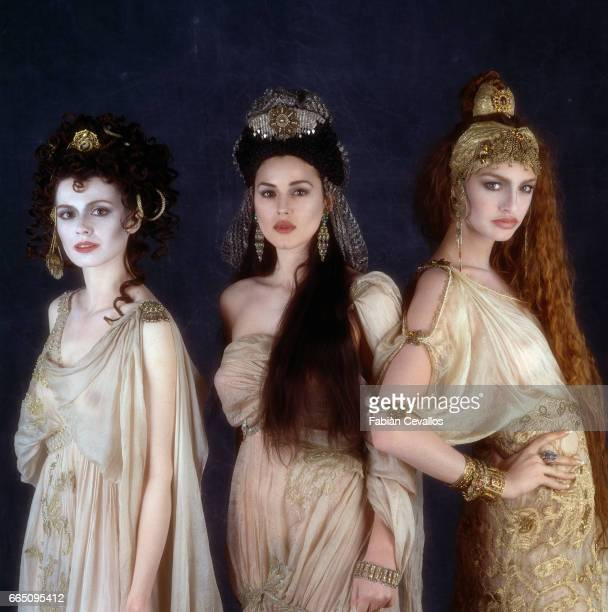 Romanianborn actress Florina Kendrick Italian actress Monica Bellucci and Israelianborn supermodel and actress Michaela Bercu on the set of 'Dracula'...