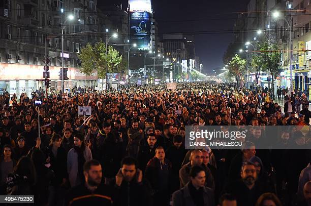 Romanians protest against the political class and Romanian authorities as over 10000 people gather in a protest and march to the government...