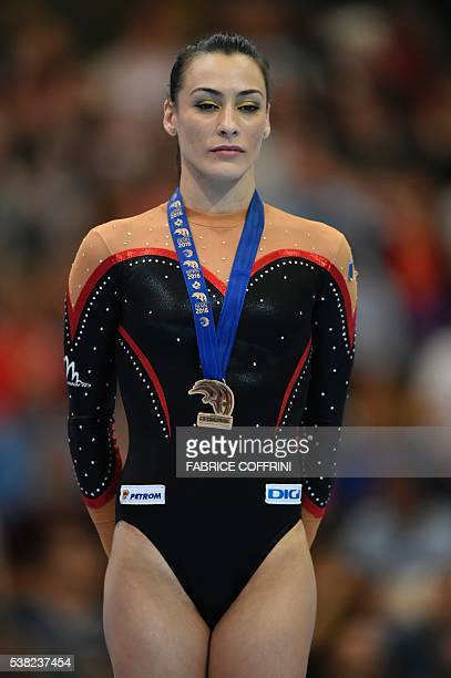 Romanias Catalina Ponor celebrates on the podium after the Womens Beam competition of the European Artistic Gymnastics Championships 2016 in Bern...