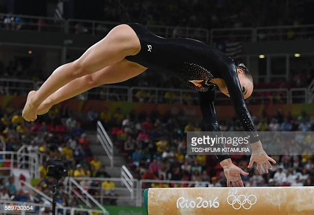 Romania's Catalina Ponor competes in the women's balance beam event final of the Artistic Gymnastics at the Olympic Arena during the Rio 2016 Olympic...