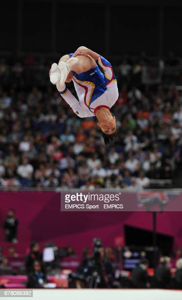 Romania's Catalina Ponor competes on the floor during the Artistic Gymnastics Women's team final at the North Greenwich Arena London during day four...