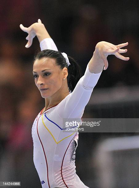 Romania's Catalina Ponor performs on the floor during the women's team final at the 29th European Artistics Gymnastics Championships on May 12 2012...