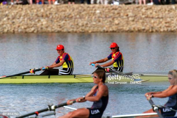 Romania's Coxless Pairs team of Georgeta Damian and Doina Ignat on their way to winning the gold medal