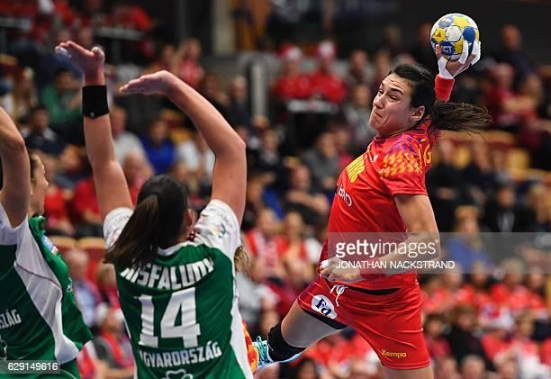 Romania's Cristina Neagu prepares to throw the ball during the Women's European Handball Championship Group II match between Hungary and Romania in...