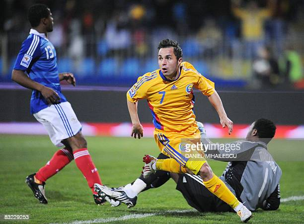 Romania's Florentin Petre celebrates his goal against France during their World Cup 2010 qualifying football match on October 11 2008 at Farul...