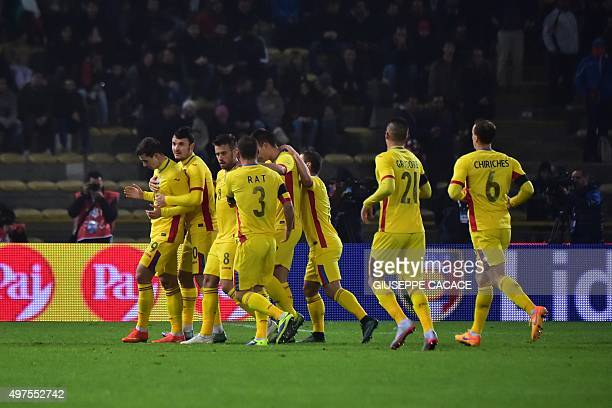 Romania's forward Bogdan Stancu celebrates after scoring during the friendly football match between Italy and Romania on November 17 2015 at Renato...