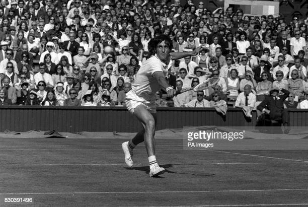 Romania's Ilie Nastase in action during his Men's Singles fourth round match on Centre Court at Wimbledon against American's Tom Gorman