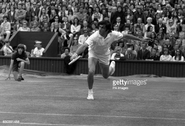 Romania's Ilie Nastase in action during his Men's Singles second round match at Wimbledon against American's C Graebner