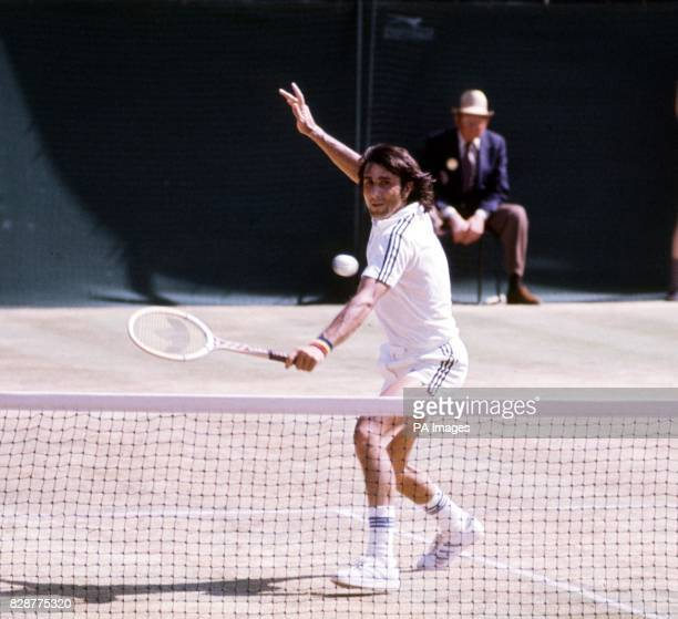 Romania's Ilie Nastase in action on Centre Court at Wimbledon during his Men's Singles semifinal clash against Raul Ramirez of Mexico