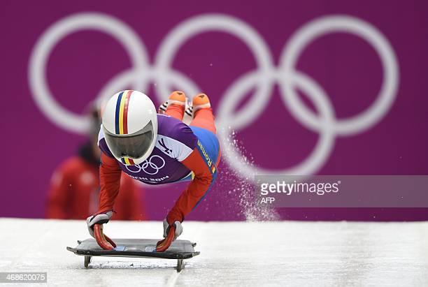 Romania's Maria Marinela Mazilu takes off during Skeleton training at the Sanki Sliding Center in Rosa Khutor during the Sochi Winter Olympics on...
