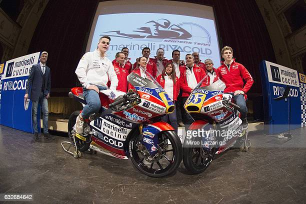 Romano Fenati of Italy and Marinelli Rivacold Snipers Team and Jules Danilo of France and Marinelli Rivacold Snipers Team pose with the bikes and...