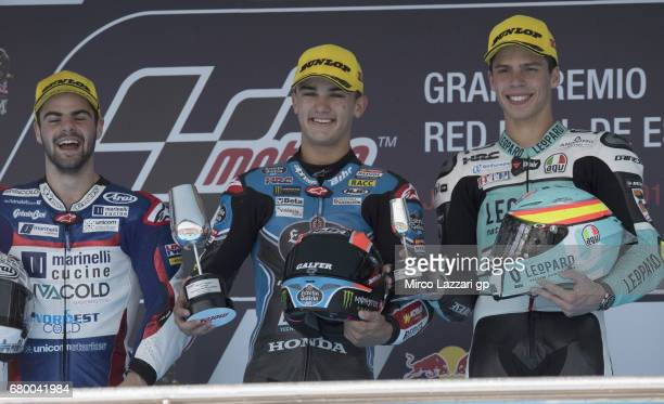 Romano Fenati of Italy and Marinelli Rivacold Snipers Team Aron Canet of Spain and Estrella Galicia 00 and Joan Mir of Spain and Leopard Racing...