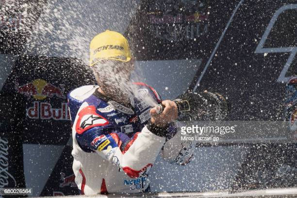 Romano Fenati of Italy and Marinelli Rivacold Snipers Team celebrates the second place on the podium at the end of the Moto3 race during the MotoGp...