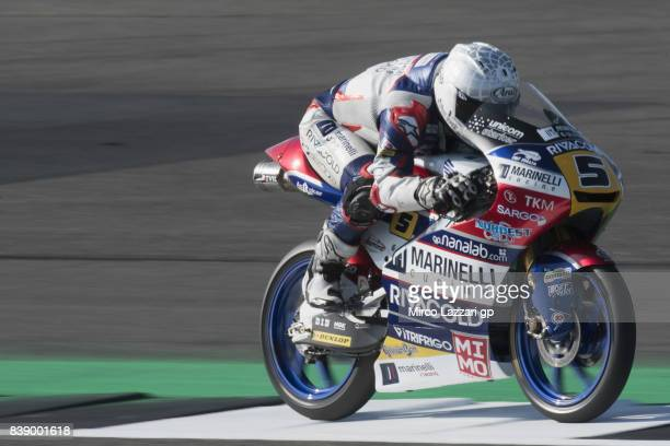 Romano Fenati of Italy and Marinelli Rivacold Snipers Team heads down a straight during the MotoGp Of Great Britain Free Practice at Silverstone...