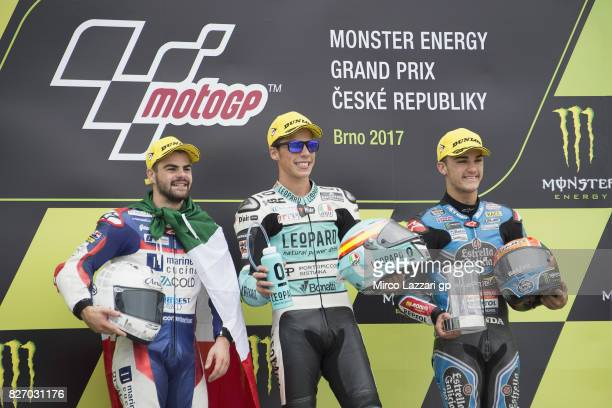 Romano Fenati of Italy and Marinelli Rivacold Snipers Team Joan Mir of Spain and Leopard Racing and Aron Canet of Spain and Estrella Galicia 00...