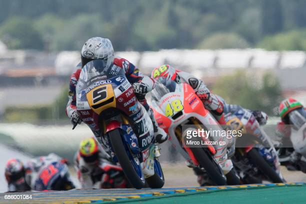Romano Fenati of Italy and Marinelli Rivacold Snipers Team leads the field during the MotoGp of France Qualifying on May 20 2017 in Le Mans France