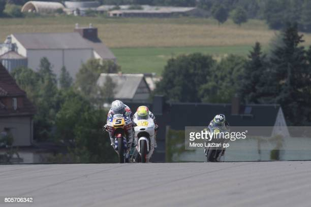 Romano Fenati of Italy and Marinelli Rivacold Snipers Team leads the field during the Moto3 race during the MotoGp of Germany Race at Sachsenring...