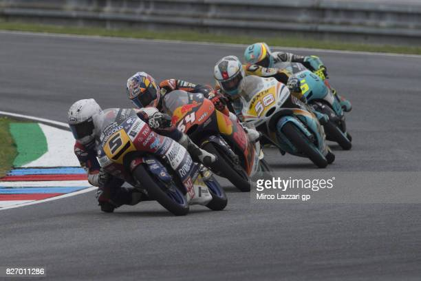 Romano Fenati of Italy and Marinelli Rivacold Snipers Team leads the field during the Moto3 race during the MotoGp of Czech Republic Race at Brno...