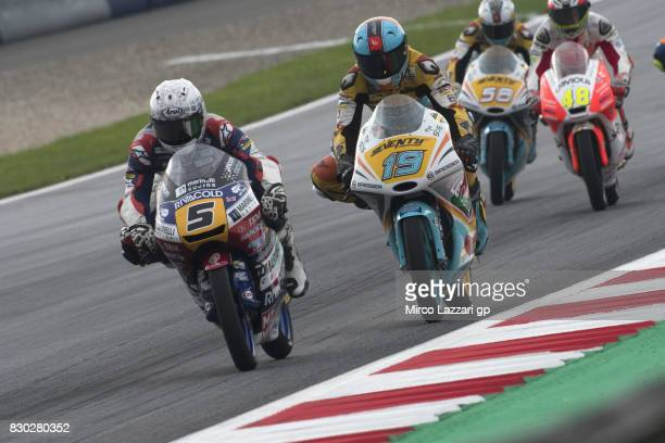 Romano Fenati of Italy and Marinelli Rivacold Snipers Team leads the field during the MotoGp of Austria Free Practice at Red Bull Ring on August 11...