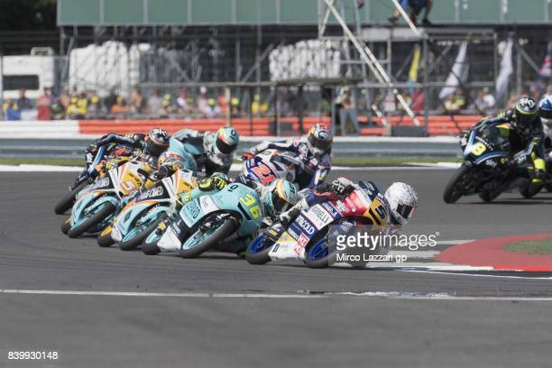 Romano Fenati of Italy and Marinelli Rivacold Snipers Team leads the field during the Moto3 race during the MotoGp Of Great Britain Race at...