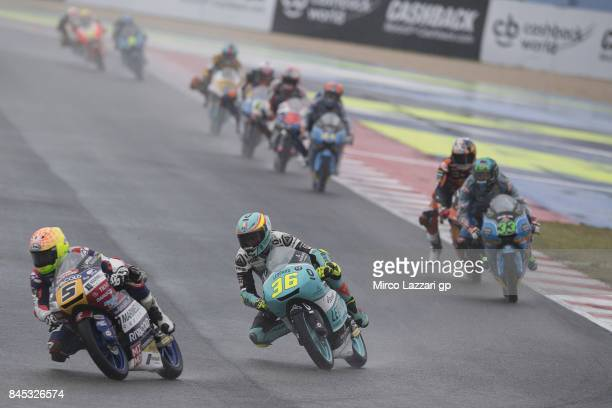 Romano Fenati of Italy and Marinelli Rivacold Snipers Team leads the field during the Moto3 Race during the MotoGP of San Marino Race at Misano World...