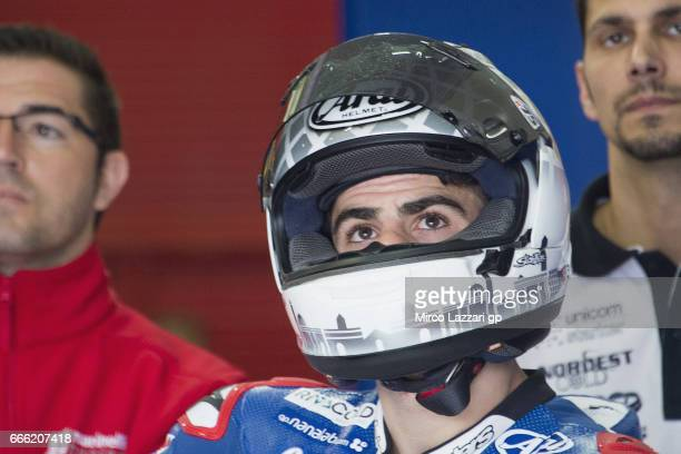Romano Fenati of Italy and Marinelli Rivacold Snipers Team looks on in box during the MotoGp of Argentina Qualifying on April 8 2017 in Rio Hondo...