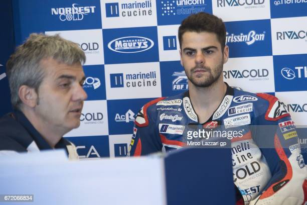 Romano Fenati of Italy and Marinelli Rivacold Snipers Team looks on in box before the Moto3 race during the MotoGp Red Bull US Grand Prix of The...