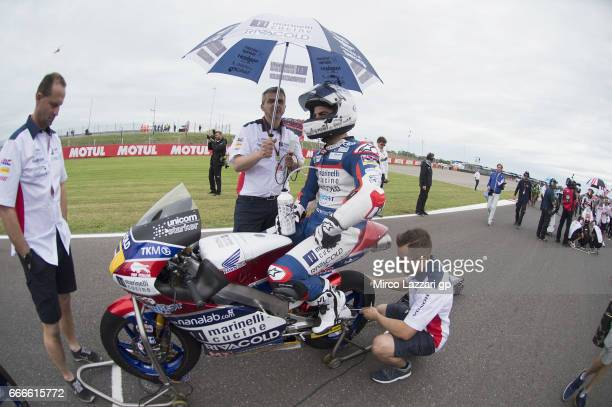 Romano Fenati of Italy and Marinelli Rivacold Snipers Team prepares to start on the grid during the Moto3 race during the MotoGp of Argentina Race on...