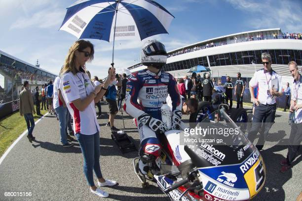 Romano Fenati of Italy and Marinelli Rivacold Snipers Team prepares to start on the grid during the Moto3 race during the MotoGp of Spain Race at...