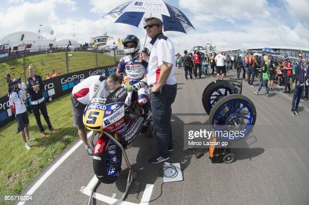Romano Fenati of Italy and Marinelli Rivacold Snipers Team prepares to start on the grid during the Moto3 race during the MotoGp of Germany Race at...