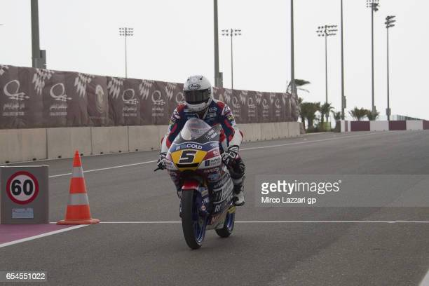 Romano Fenati of Italy and Marinelli Rivacold Snipers Team returns in box during the Moto2 And Moto3 Tests In Losail at Losail Circuit on March 17...