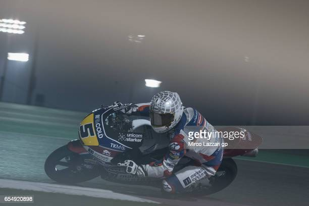 Romano Fenati of Italy and Marinelli Rivacold Snipers Team rounds the bend during Moto2 And Moto3 Tests In Losail at Losail Circuit on March 18 2017...
