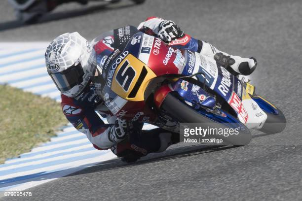 Romano Fenati of Italy and Marinelli Rivacold Snipers Team rounds the bend during the MotoGp of Spain Qualifying at Circuito de Jerez on May 6 2017...