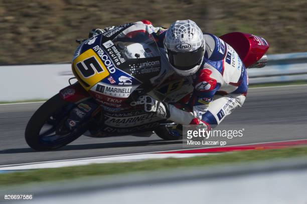 Romano Fenati of Italy and Marinelli Rivacold Snipers Team rounds the bend during the MotoGp of Czech Republic Qualifying at Brno Circuit on August 5...