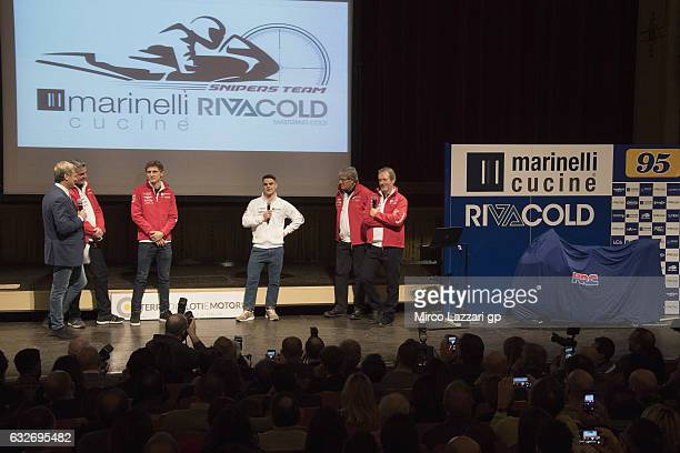 Romano Fenati of Italy and Marinelli Rivacold Snipers Team speaks during the Marinelli Rivacold Snipers Team Presentation in Teatro Rossini in Pesaro...