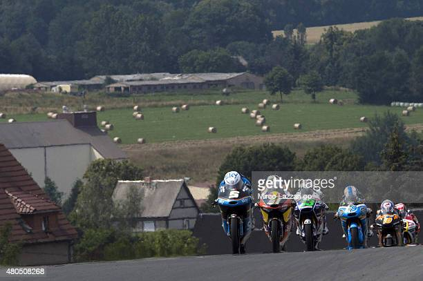 Romano Fenati of Italy and Sky Racing Team by VR46 leads the field during the Moto3 race during the MotoGp of Germany Race at Sachsenring Circuit on...