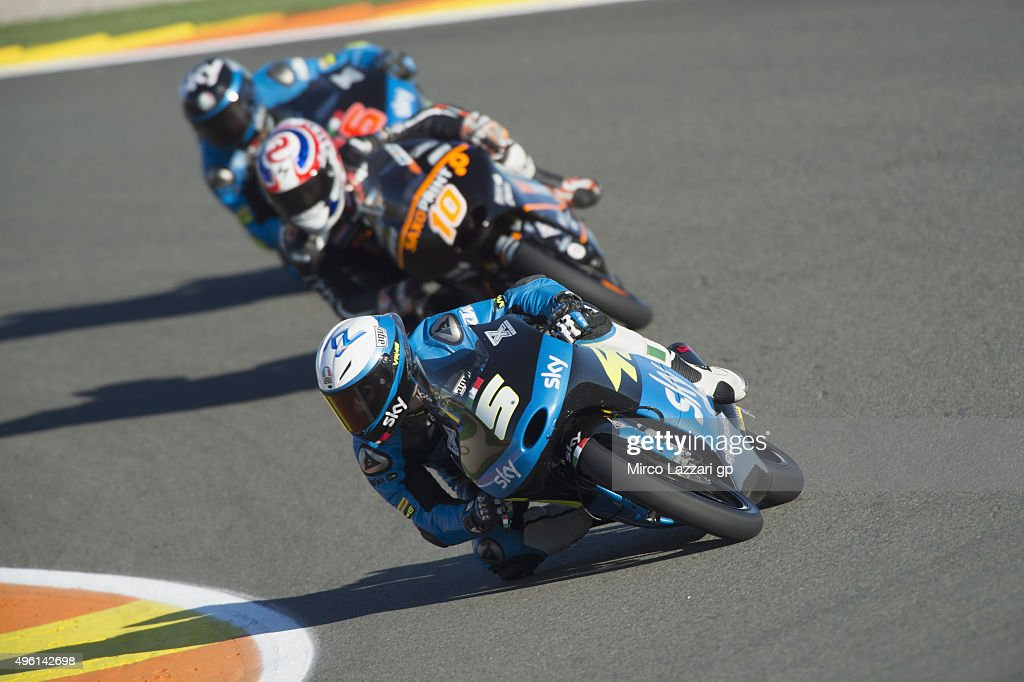 Romano Fenati of Italy and Sky Racing Team by VR46 leads the field during the qualifying practice during the MotoGP of Valencia Qualifying at Ricardo...