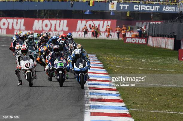 Romano Fenati of Italy and Sky Racing Team VR46 leads the field during the Moto3 race during the MotoGP Netherlands Race at on June 26 2016 in Assen...