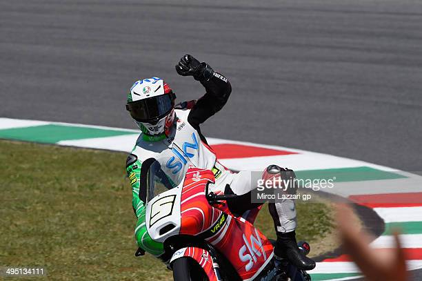 Romano Fenati of Sky Racing Team by VR46 celebrates the victory at the end of the Moto3 race during the MotoGp of Italy Race at Mugello Circuit on...