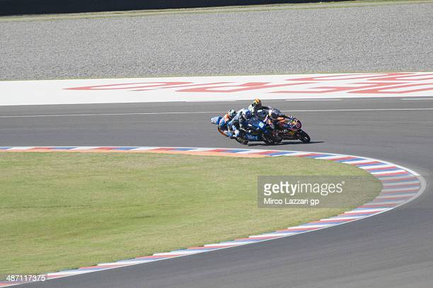 Romano Fenati of Sky Racing Team by VR46 overtaking the other Moto3 riders in the last corner of the last lap of the the Moto3 race during the MotoGp...
