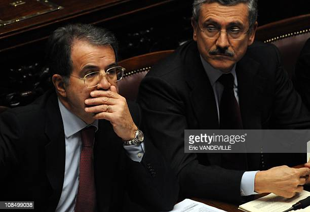 Romano Prodi and Massimo dAlema Italian minister of foreign affairs and deputy Prime Minister Italian government crisis Prime Minister Romano Prodi...