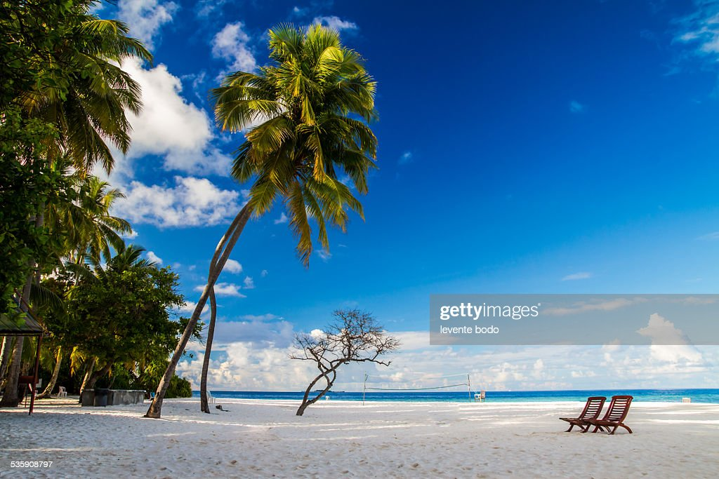 Romantic beach scenery on the Maldives concept : Stock Photo