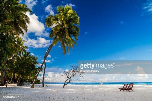 Romantic beach scenery on the Maldives concept : Stock Photo