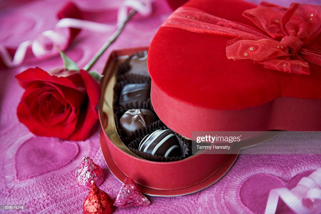Romantic Box of Chocolates : Foto de stock