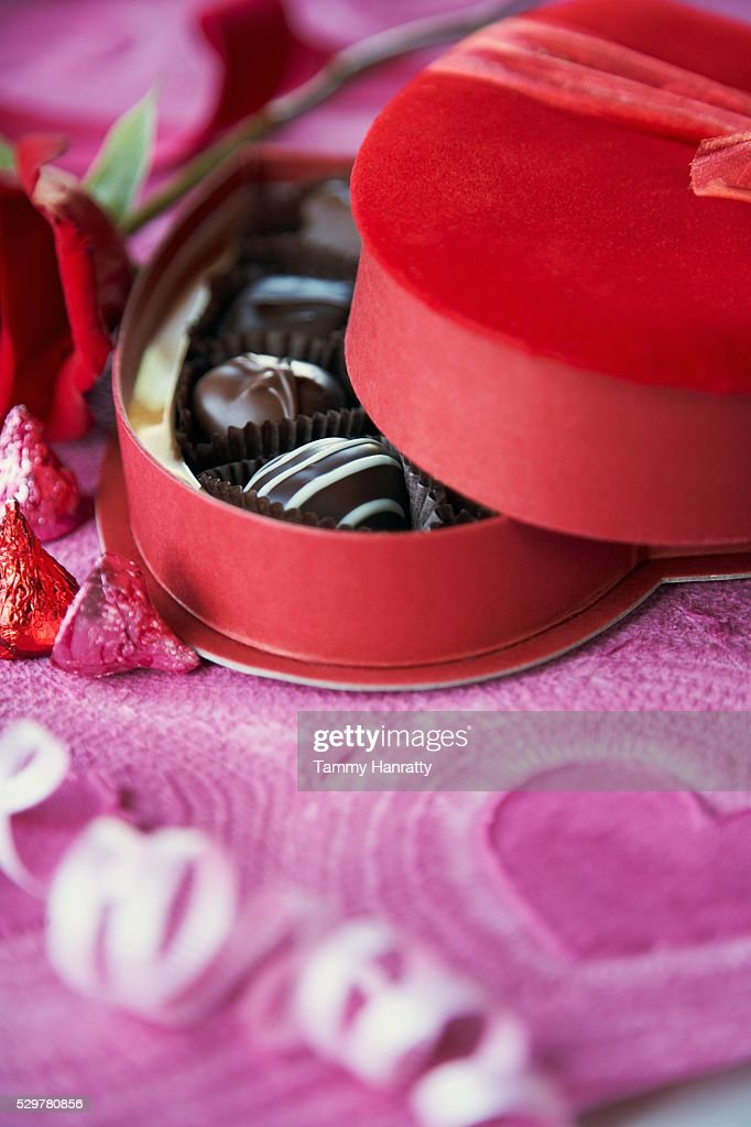 Romantic Box of Chocolates : Stockfoto