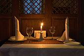 Romantic candle light dinner in a restaurant.